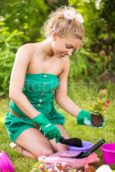Young woman planting flowers Stock photo © MilanMarkovic78