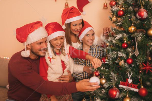 家族 クリスマスツリー 美しい 幸せ 姉妹 弟 ストックフォト © MilanMarkovic78