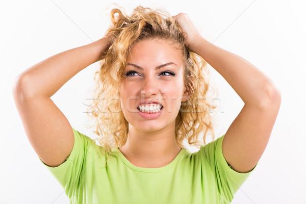Stress Porträt schönen halten Kopf Stock foto © MilanMarkovic78