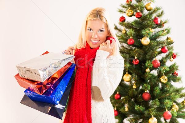 Noel kız güzel mutlu kırmızı hediye Stok fotoğraf © MilanMarkovic78