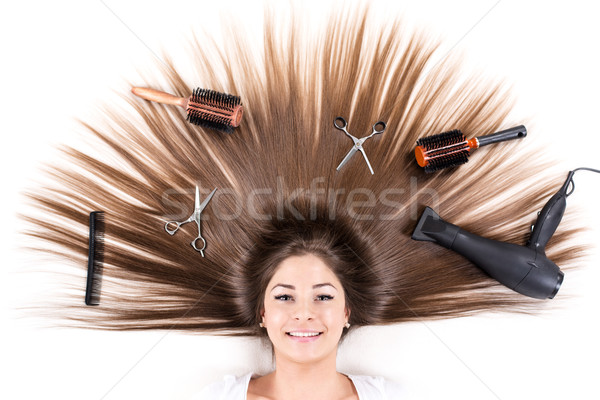 Brunette With Long Hair Stock photo © MilanMarkovic78