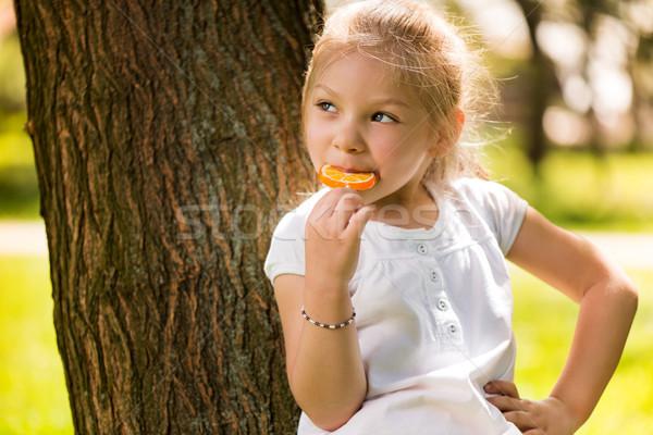 Cute девочку леденец Постоянный парка Сток-фото © MilanMarkovic78