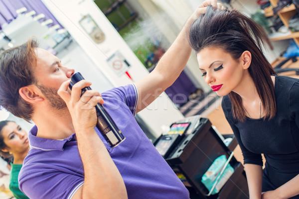 Adam kuaför uzun saç müşteri kadın Stok fotoğraf © MilanMarkovic78