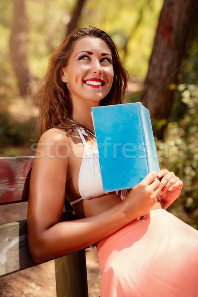 Foto stock: Pensativo · menina · ensolarado · floresta · mulher · jovem · leitura