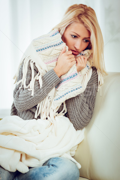 Pretty Girl Tucked In Shawl Stock photo © MilanMarkovic78