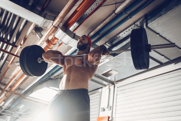 Stock foto: Passen · starken · jungen · muskuläre · Mann · Macht