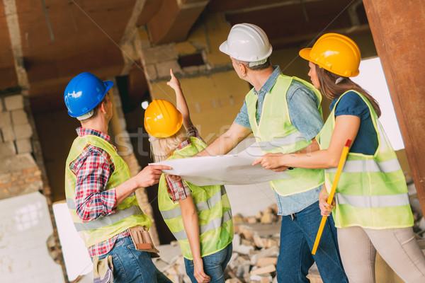 Foto stock: Reconstrução · catástrofe · quatro · construção · plano