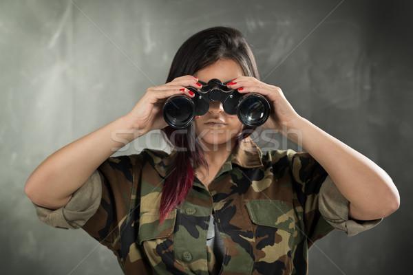 Női katona fiatal nő visel álca egyenruha Stock fotó © MilanMarkovic78