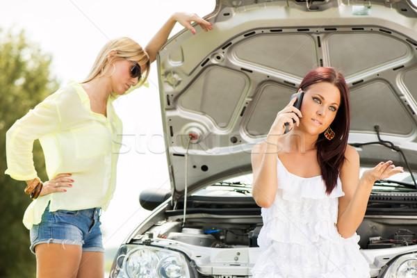Samochodu drogowego młodych turystycznych kobieta Zdjęcia stock © MilanMarkovic78