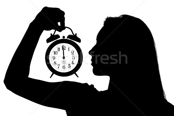 Mulher despertador silhueta relógio 12 Foto stock © MilanMarkovic78