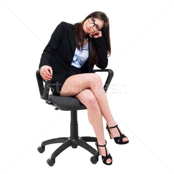 小さな 女性実業家 座って 椅子 孤立した 白 ストックフォト © Minervastock