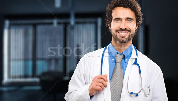 Yakışıklı doktor portre adam mutlu arka plan Stok fotoğraf © Minervastock