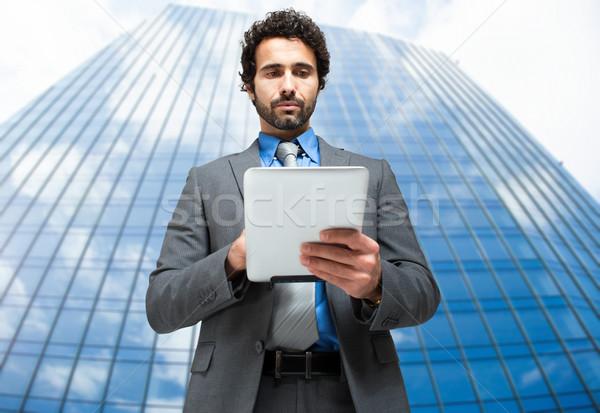 Yakışıklı adam Internet adam işadamı finanse Stok fotoğraf © Minervastock