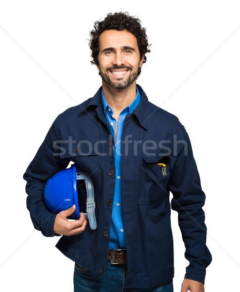 Stock photo: Engineer portrait isolated on white