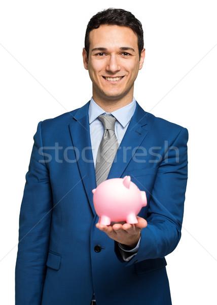 Işadamı kumbara adam kutu finanse Stok fotoğraf © Minervastock