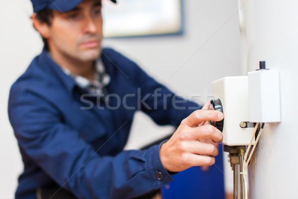 Portre elektrikçi çalışmak fabrika kablo hizmet Stok fotoğraf © Minervastock