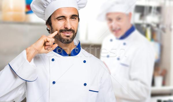 Portre şef mutfak çalışmak iş adam Stok fotoğraf © Minervastock