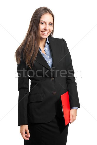 Amigável empresária retrato clipboard belo Foto stock © Minervastock