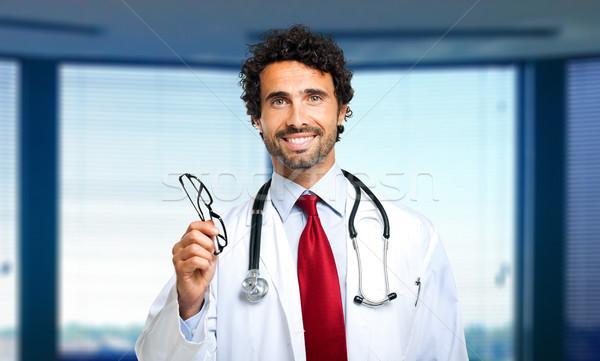 Zdjęcia stock: Młodych · lekarza · pary · okulary · okulary · muzyka