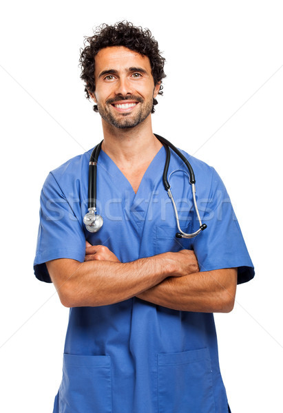 Male nurse isolated on white Stock photo © Minervastock