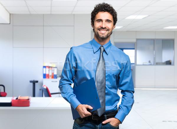 肖像 ハンサム ビジネスマン オフィス 幸せ 作業 ストックフォト © Minervastock