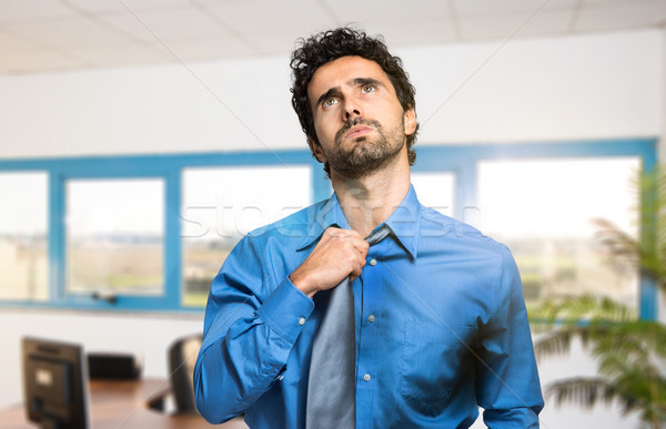 Empresario caliente clima hombre trabajo Foto stock © Minervastock
