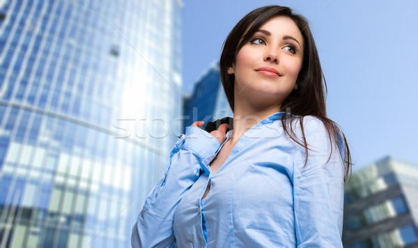 Işkadını portre açık şehir kadın gülümseme Stok fotoğraf © Minervastock