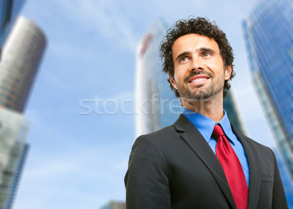 Knap manager portret outdoor stad business Stockfoto © Minervastock