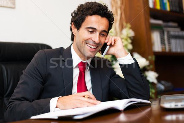 Retrato abogado hablar teléfono negocios empresario Foto stock © Minervastock