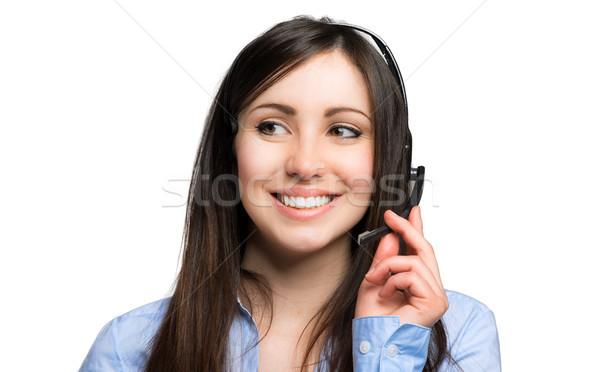 笑みを浮かべて コールセンター 演算子 ビジネス 女性 オフィス ストックフォト © Minervastock