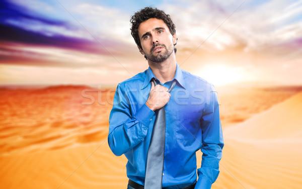 ビジネスマン 発汗 砂漠 仕事 思考 ホット ストックフォト © Minervastock