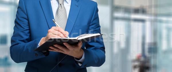 Biznesmen Uwaga pióro notatnika działalności Zdjęcia stock © Minervastock