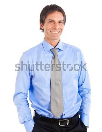 笑みを浮かべて 小さな マネージャ 肖像 孤立した 白 ストックフォト © Minervastock