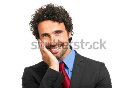 Yakışıklı müdür yalıtılmış beyaz iş gülümseme Stok fotoğraf © Minervastock