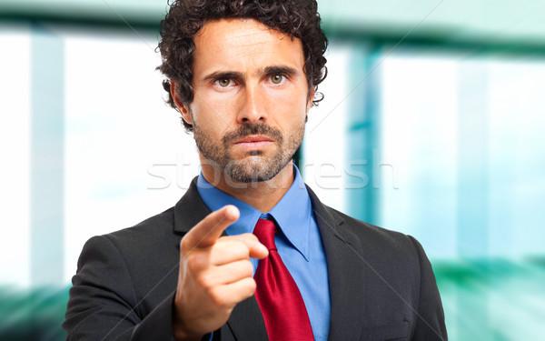 Erkek müdür işaret parmak iş ofis Stok fotoğraf © Minervastock