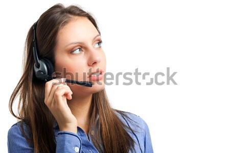Portre kadın kulaklık iş telefon Stok fotoğraf © Minervastock