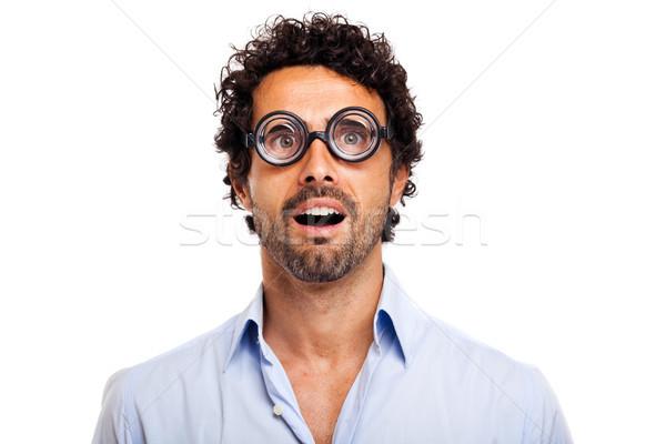 Sorpreso nerd isolato bianco uomo divertente Foto d'archivio © Minervastock