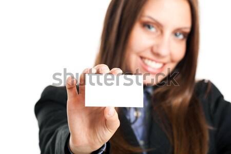 笑みを浮かべて 女性実業家 ブランクカード 美しい 小さな ストックフォト © Minervastock