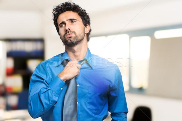 Izzadás üzletember forró éghajlat férfi munka Stock fotó © Minervastock