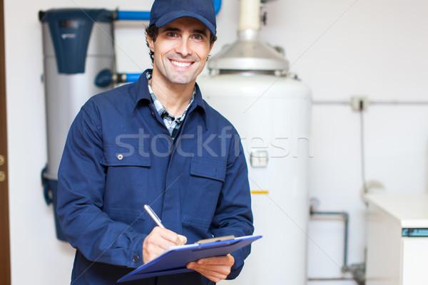 Técnico aquecedor casa homem quarto serviço Foto stock © Minervastock