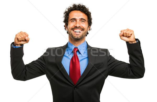 Boldog üzletember karok a magasban férfi sikoly vállalati Stock fotó © Minervastock