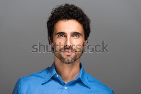 Portre mutlu genç gülen gri Stok fotoğraf © Minervastock