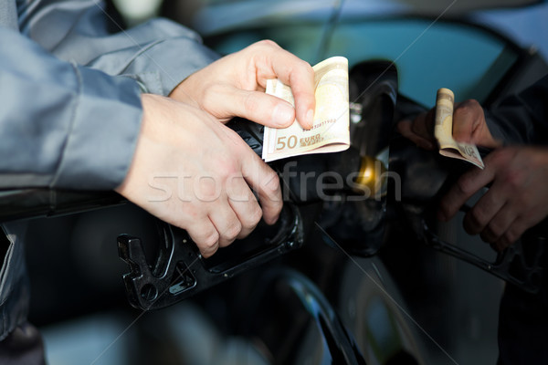 Fueling up a car at the gas station Stock photo © Minervastock