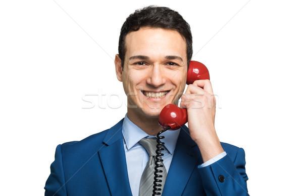 Işadamı konuşma bağbozumu kırmızı telefon iş Stok fotoğraf © Minervastock