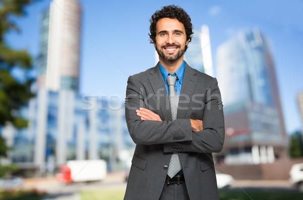 Gülen erkek müdür açık ofis adam Stok fotoğraf © Minervastock