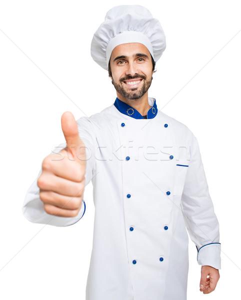 şef yalıtılmış beyaz adam restoran Stok fotoğraf © Minervastock