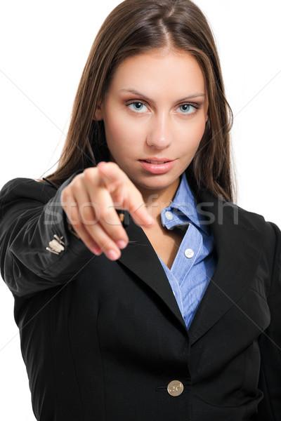 Dostça işkadını portre işaret parmak yalıtılmış Stok fotoğraf © Minervastock