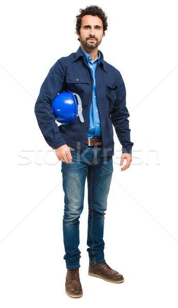 Stockfoto: Ingenieur · portret · geïsoleerd · witte · gebouw · werk