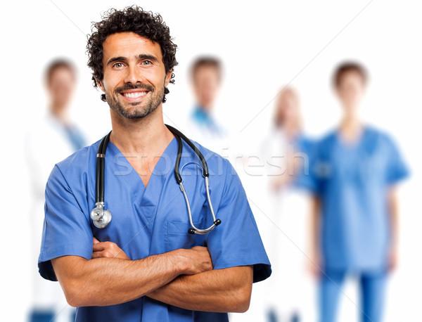 Gülen doktor kadın sağlık hastane erkekler Stok fotoğraf © Minervastock