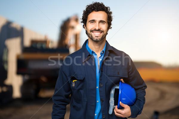Portre yakışıklı mühendis Bina dizayn okuma Stok fotoğraf © Minervastock